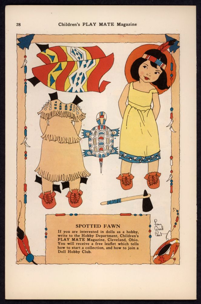 """Uncut """"Children's Play Mate"""" Magazine Paper Doll Spotten Fawn By FB Peat * 1500 free paper dolls Christmas gifts artist Arielle Gabriels The International Paper Doll Society also free paper dolls The China Adventures of Arielle Gabriel *"""