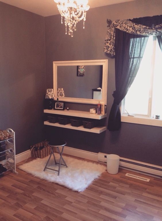 Another option for makeup vanity. Simple, affordable, space efficient.: