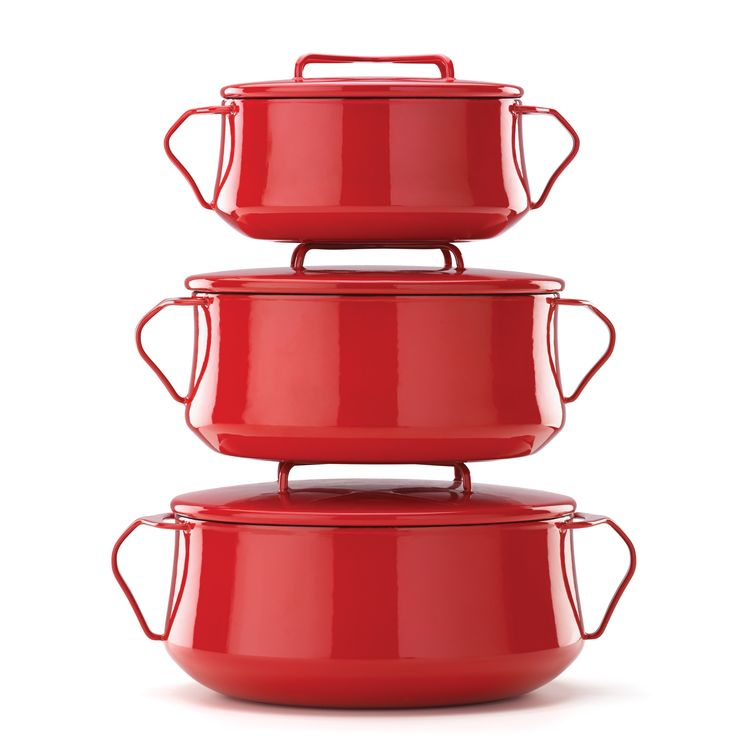 This Year cook a classic or start a new tradition with the Kobenstyle Cookware. These Scandinavian inspired cookware is a charming addition to any cookware line up and its smart mid century modern design would look great at any table top or buffet table.  The lid doubles as a trivet or hot pad for your potluck dish. The large handles makes it easy to pass these enamel cookware around the table or take them out of the oven / off the stove with oven mitts- Available in Red, Navy, Stainless…