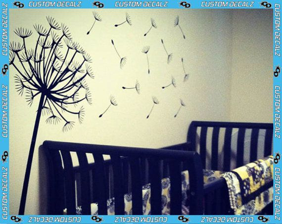 Dandelion Wall Decal - Comes with 14 scattered seeds on Etsy, $35.00