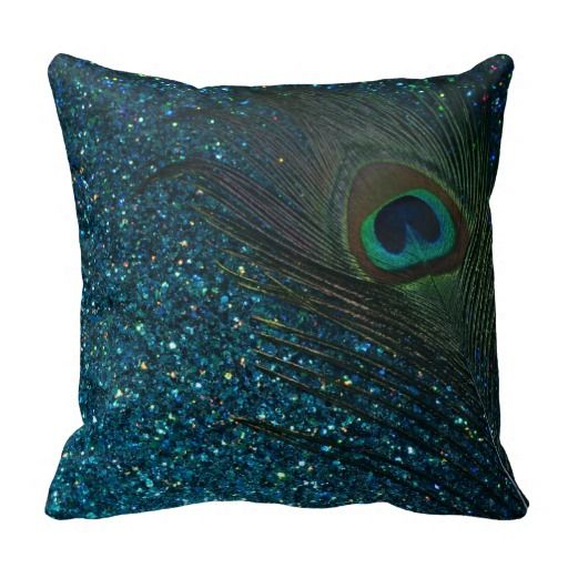 Glittery Aqua Peacock Feather Pillow