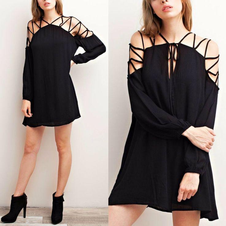 Ladies BOHO Strappy Cold Shoulder Long Sleeve Flowy Dress Solid Black Lined S-L #Mittoshop #ColdShoulderFlowySwingDressShift