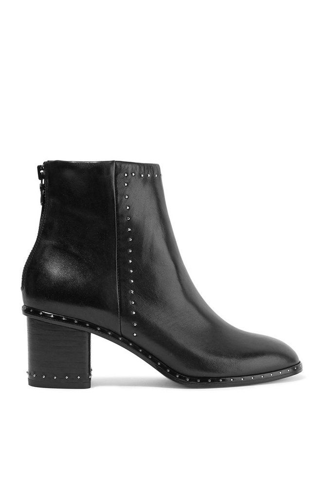The Rag and Bone Willow ankle boot is your classic black boot with an edgy twist. Featuring a round toe and comfortable block heel with eye-catching silver stud