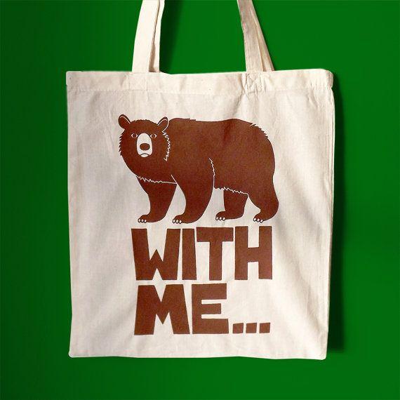 Bear Tote Bag Screenprint Tote Bag Animal by helloDODOshop on Etsy, £10.00