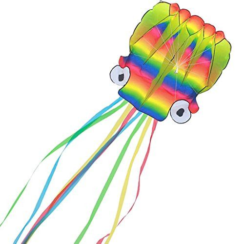 Large (209'' Long) Rainbow Octopus Kite for Kids and Adults with Long Tails - Giant Easy Flyer for Beginners - Software Parafoil Kite for the Beach, Best Summer Toys for Outdoor Games Activities