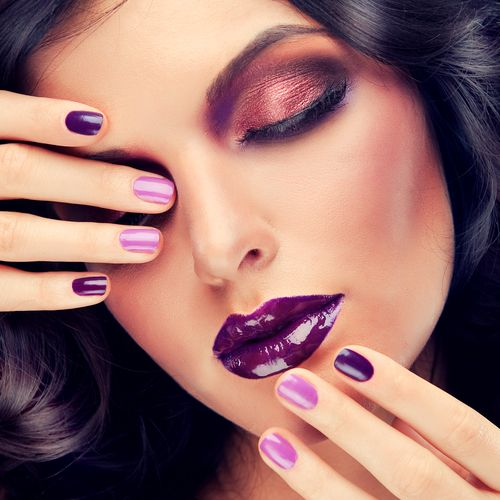 Radiant Orchid Makeup and nails