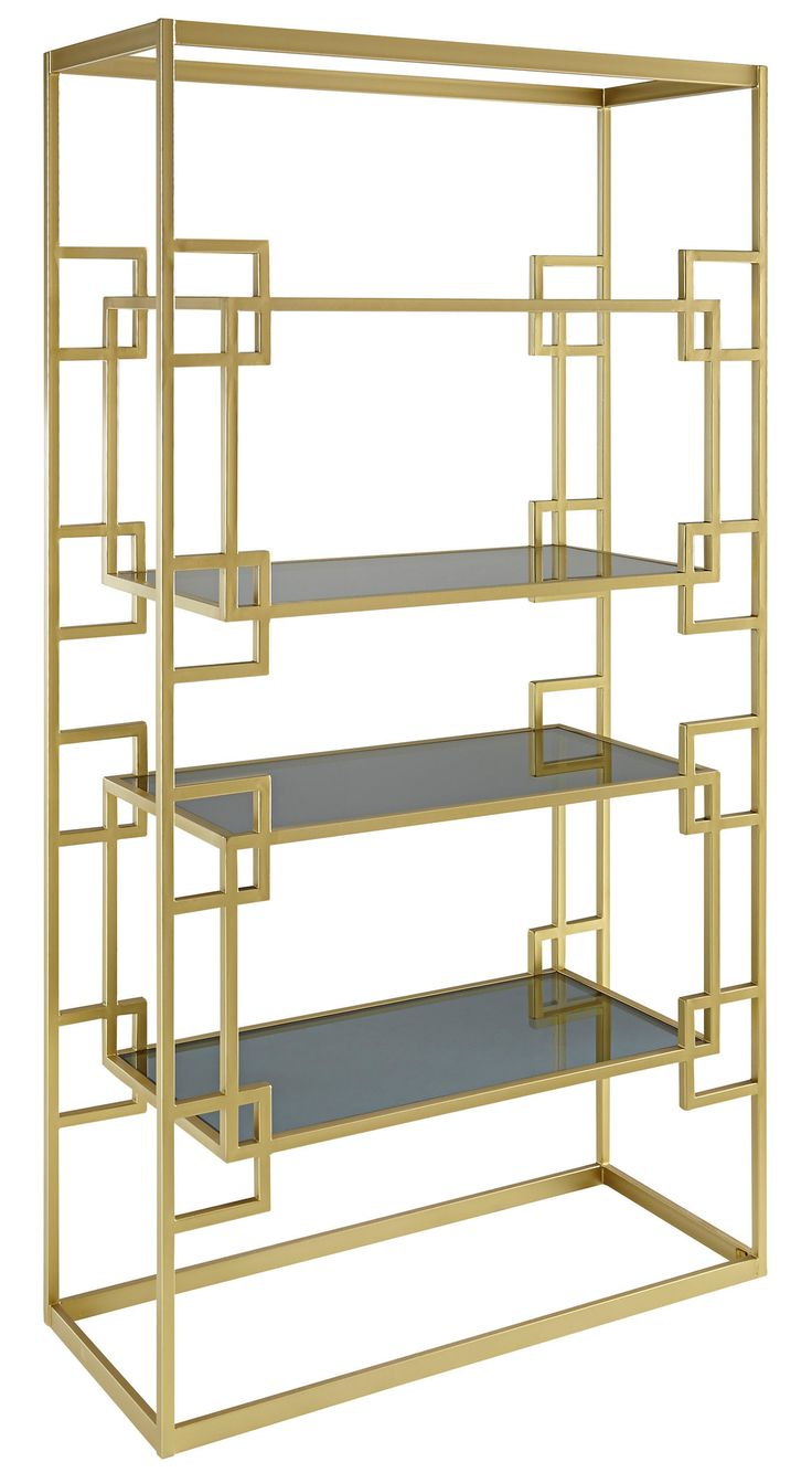 The York Etagere Has An Electroplated Brass Frame With Four Black Glass Shelves