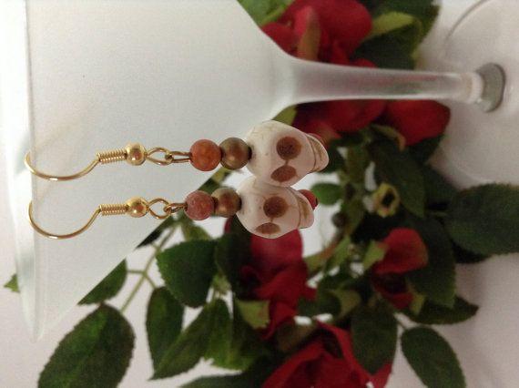 Skull earrings  mini skull beaded earrings by NJscollection