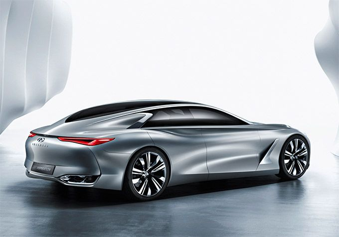 Infiniti Q80 Inspiration concept | Infiniti Q80 Inspiration extends to 5052 millimeters (198.9 inches) with a long wheelbase of 3103 mm (122.2 in) framed by custom 22-inch five-dual-spoke lightweight alloys. The full roof length of the teardrop passenger greenhouse is accentuated by lightweight acoustic glass. And its doors open portal style, which allows the stunning cabin to be fully on display while driver and passengers step in and out with ease.