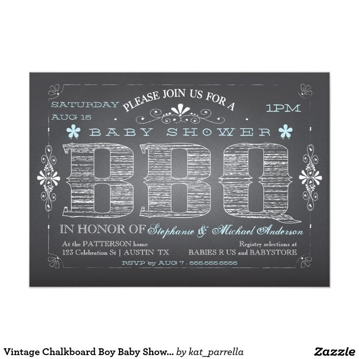 baby shower bbq invitation templates%0A Vintage Chalkboard Boy Baby Shower BBQ Invitation