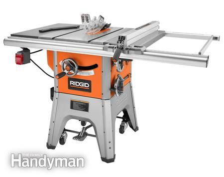 Table saw review photo of Ridgid R4512 - What's the Right Saw for You? http://www.familyhandyman.com/tools/table-saws/portable-table-saw-reviews/view-all