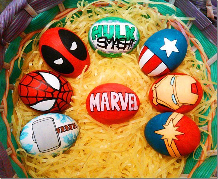 Eggcellent Marvel Superhero Easter Eggs made by Lesley Jensen
