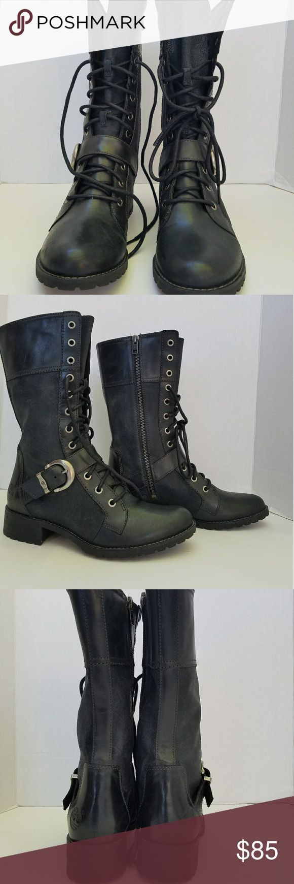 Timberland Women's Earthkeepers THE LOWEST PRICE! Mid-calf, lace-up, side zippered. Size: US 8 Color: Black. Without box. Timberland Shoes Lace Up Boots