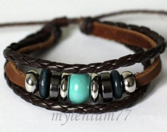 502 Men's brown leather bracelet Rings bracelet by mylenium77