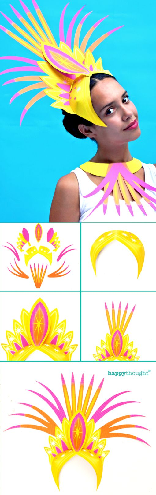 Make your own headpiece for Rio Carnival, Mardi Gras, or celebrate with your own Carnival! Printable headdress and necklace templates and DIY carnival costume tutorial at https://happythought.co.uk/product/printable-carnival-headpiece Rio here we come!