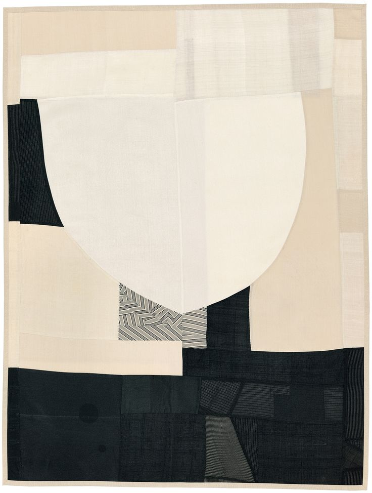DEBRA SMITH, The Edge of Thought, Series #2, 2014. Quilt work, material pieced vintage kimono silk and mens suit lining. / Debra Smith