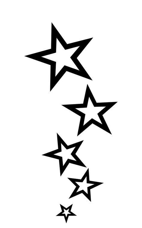 Stellen Sie Ihre eigene Star Tattoo Schablone her. Treffen Sie das Bild für das Tutorial.