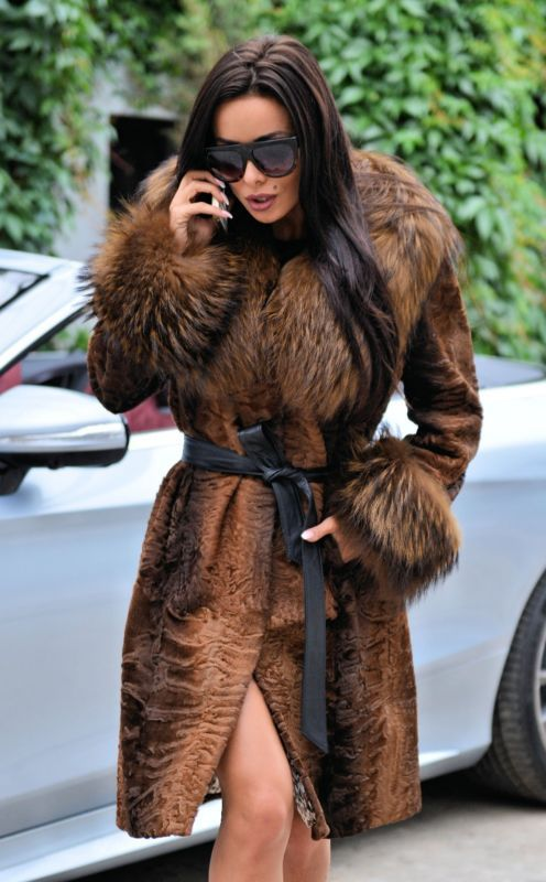 NEW BROWN SWAKARA FOX FUR TRENCH COAT CLASS OF SABLE MINK CHINCHILLA JACKET VEST