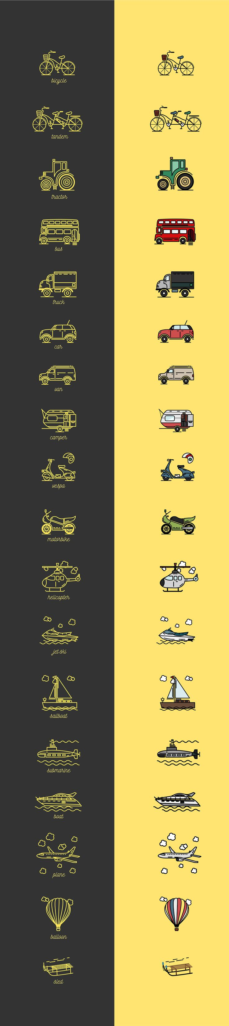 Means of Transportation Icons on Behance