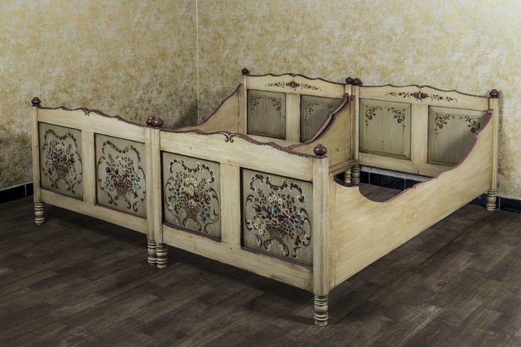 Einzelbett Bett 100x200 1x2 Kinderzimmer Bauernbett Bauernmalerei Landhaus in in Sankt Augustin | eBay