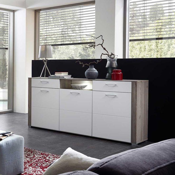 Wohnzimmer Sideboard In Weiss Eiche Grau LED Beleuchtung Jetzt Bestellen Unter