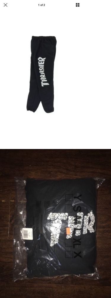 Other Skateboarding Clothing 159079: New Thrasher Skateboard Magazine Skull Logo Black Sweatpants: Large 36 Mag -> BUY IT NOW ONLY: $35.35 on eBay!