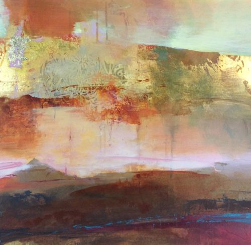 """Daily Painters Abstract Gallery: Contemporary Abstract Landscape Mixed Media Painting """"Evening Promises"""" by Intuitive Artist Joan Fullerton"""