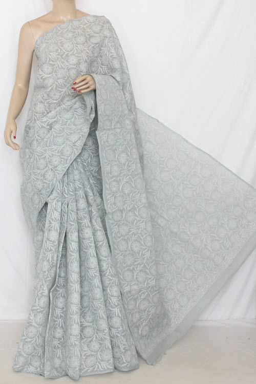 Grey Hand Embroidered Allover Tepchi Work Lucknowi Chikankari Saree (With Blouse - Cotton) 14352