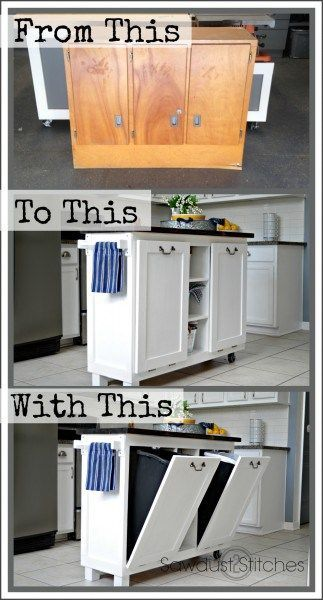 DIY Woodworking Ideas Cabinet Transformed Into A Kitchen Island