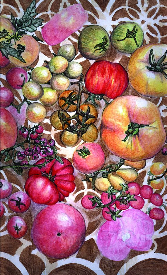 Heirloom Tomatoes Kitchen Art Print by PowellArtAndDesign on Etsy