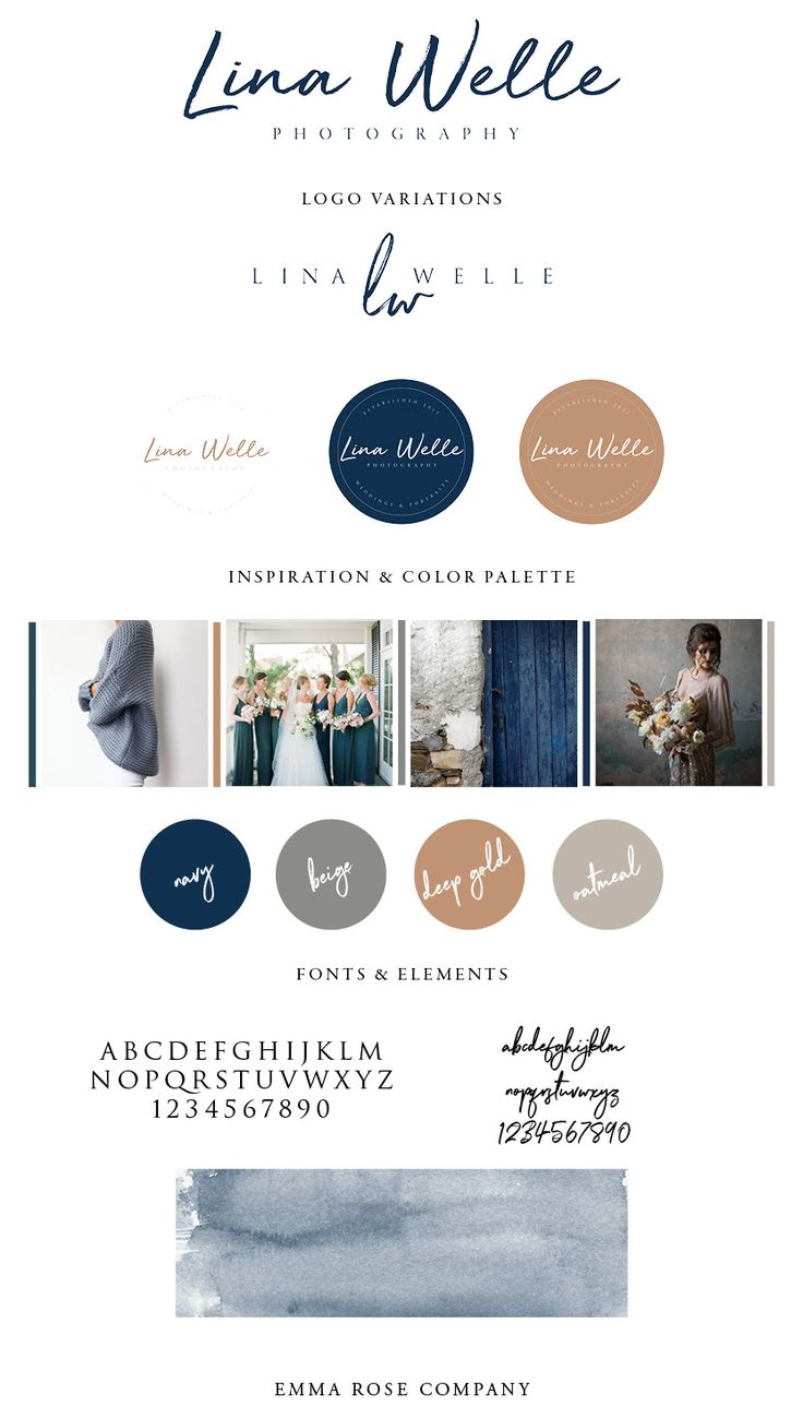 Lina Welle Photography Brand Style Guide designed by Emma Rose Company LLC