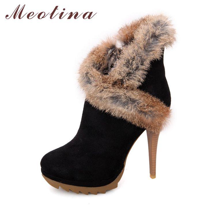 Barato Meotina sapatos mulheres botas de inverno botas de plataforma de salto alto senhoras sexy sapatos stiletto tornozelo botas de pele de coelho sapatos preto verde, Compro Qualidade Botas tornozelo diretamente de fornecedores da China: Meotina sapatos mulheres botas de inverno botas de plataforma de salto alto senhoras sexy sapatos stiletto tornozelo botas de pele de coelho sapatos preto verde