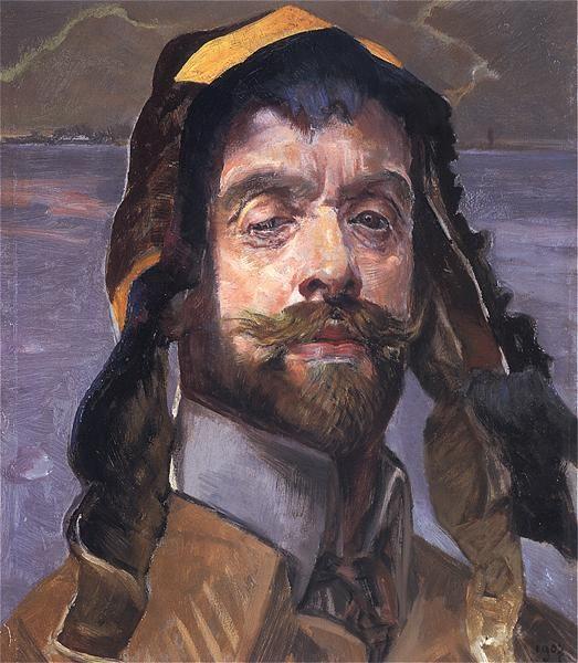 Autoportret w jakuckiej czapce, 1907.   Olej na tekturze. 40,5 x 32,5 cm. Muzeum Narodowe w Poznaniu.