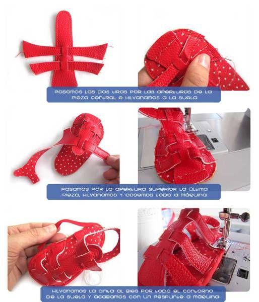 Tutorial que muestra el paso a paso para confeccionar unas sandalias de bebé de polipiel. DIY