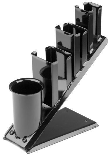 Pibbs 1511 and 1512 holders come with 3 flat iron or clipper holders and 1 large blower holder wall or cabinet mounted