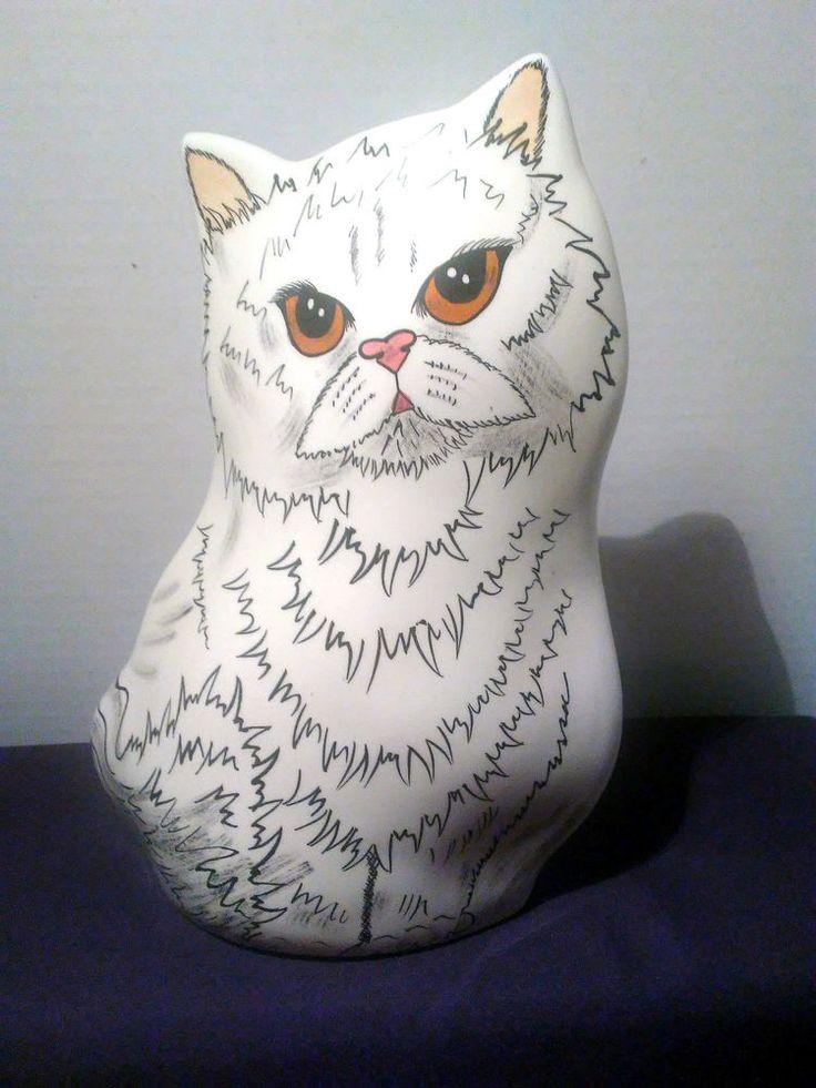 Cats by Nina Lyman Vase White Persian Gold Eyes Signed Retired