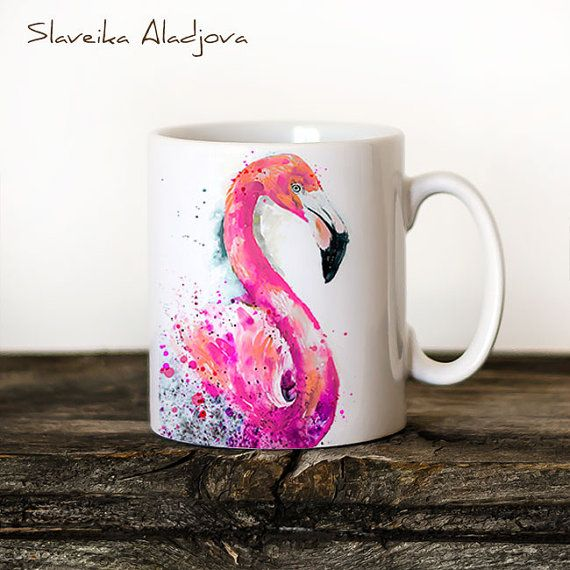 Flamingo Mug Watercolor Ceramic Mug Unique Gift Coffee Mug Animal Mug Tea Cup Art Illustration Cool Kitchen Art Printed mug bird Puffin