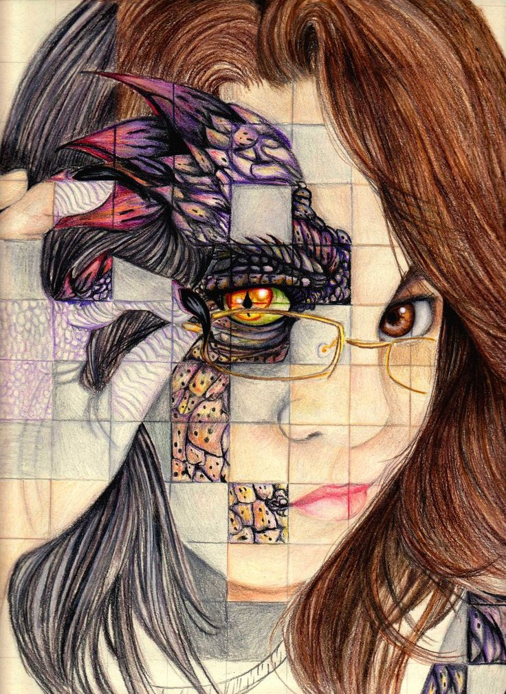 Gridded Self Portrait. This is professional, of course, but what a great idea for middle schoolers to grid two pictures - one self portrait and one of a mediaeval creature and replace some of the squares from some of the creature.