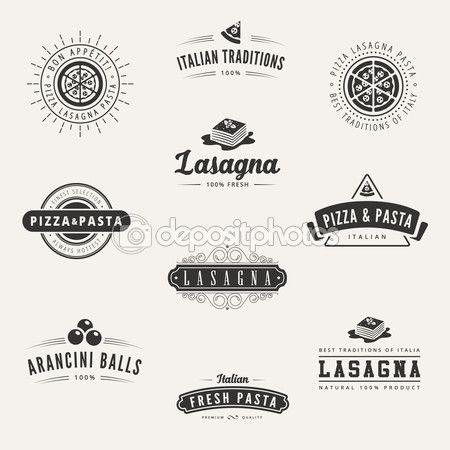 Итальянская кухня ретро Винтаж этикетки логотипа дизайн вектор typograp — Стоковая иллюстрация #66416357