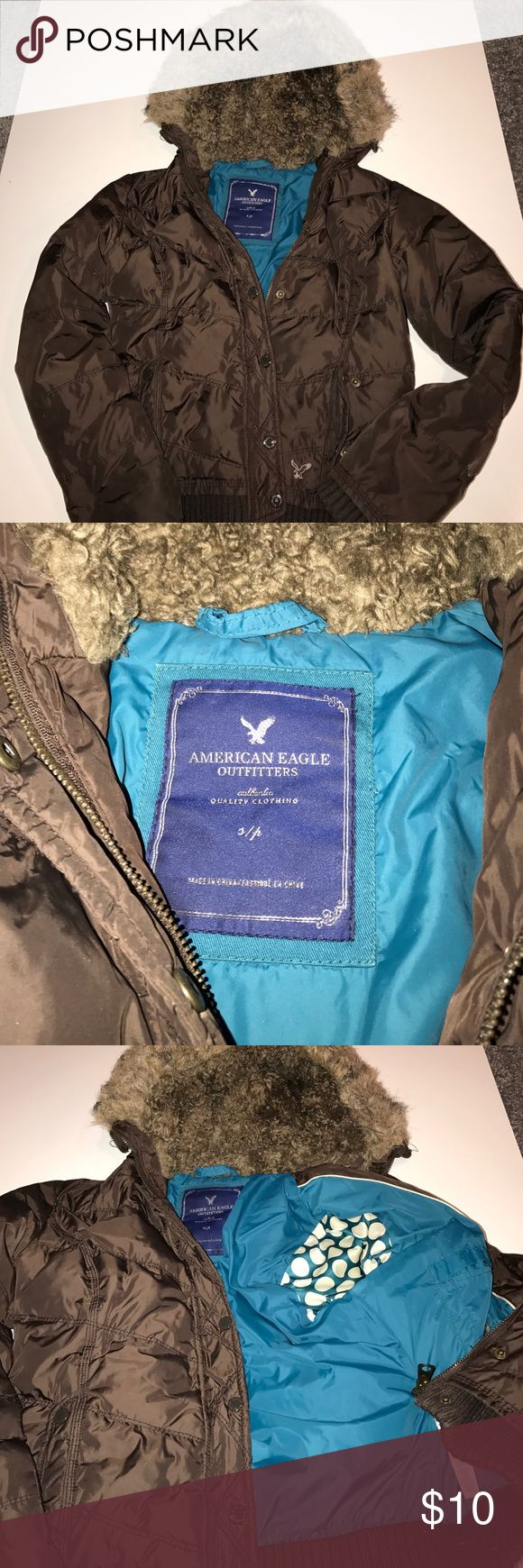 American Eagle Size Small Fur Zip Up Jacket American Eagle Size Small Brown Zip Up Jacket. Polka dot and turquoise color on the inside. Fur hood that is NOT detachable. The hood is matted only from being washed (see last picture). Has two outer pockets. Good condition, worn a few times then washed. Body: 100% nylon / Sleeve: 100% polyester/ Hood: 76% acrylic, 24% polyester trim / Faux Fur: 84% acrylic, 16% polyester American Eagle Outfitters Jackets & Coats Puffers