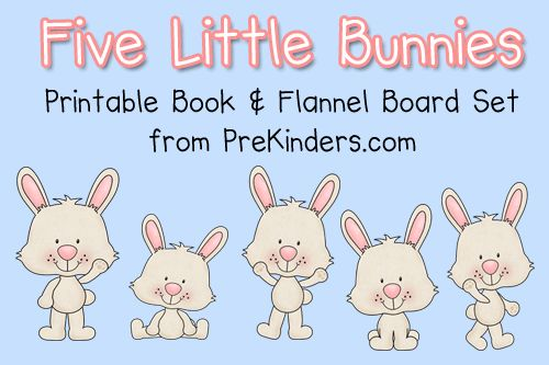 """Today I made a printable book with flannel board pieces for the traditional rhyme """"Five Little Bunnies"""". This would work well with any Easter or Spring themes and activities. My students love books that rhyme and count down, because they like to guess which number is next. I always pause before saying the next number: …"""