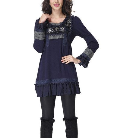 Navy Embroidered Ruffle Layered Peasant Tunic #zulily #zulilyfinds