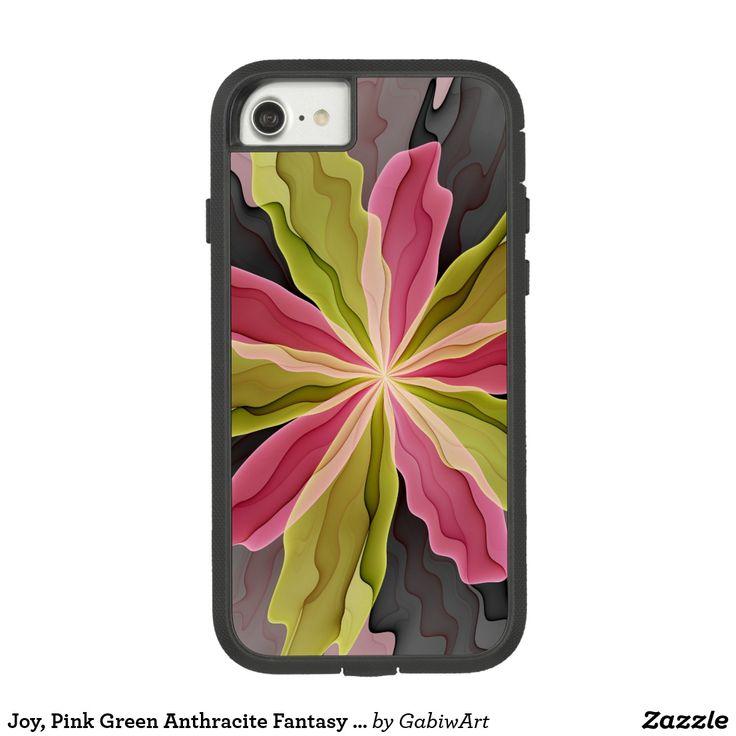 Joy, Pink Green Anthracite Fantasy Flower Fractal Case-Mate Tough Extreme iPhone 7 Case