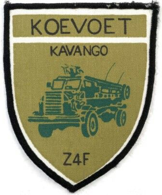 KAVANGO (RUNDU)  The Koevoet reconnaissance team also had a shoulder flash with a cheetah upon it, with one of the flashes having Etotongwe (Ovambo for cheetah) written upon the shoulder flash.   The call signs and Koevoet names of the eight combat teams of the Kavango stationed at Rundu Zulu - 4 were as follows: Zulu 4 Delta  - Thunder and Lightning – Ruvadi (Z4D) Zulu 4 Echo - Leopard – Ongua (Z4E) Zulu 4 Foxtrot - (Casspir) (Z4F) Zulu 4 Hotel - Cape hunting dog or wild dog – Mbindi (Z4H)…