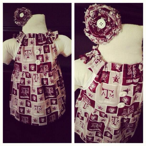 """GIG 'EM!Get your girly in the college spirit with our super cute Aggie dress. Better yet, this dress listing is a Silly Jillybeans """"Bow"""