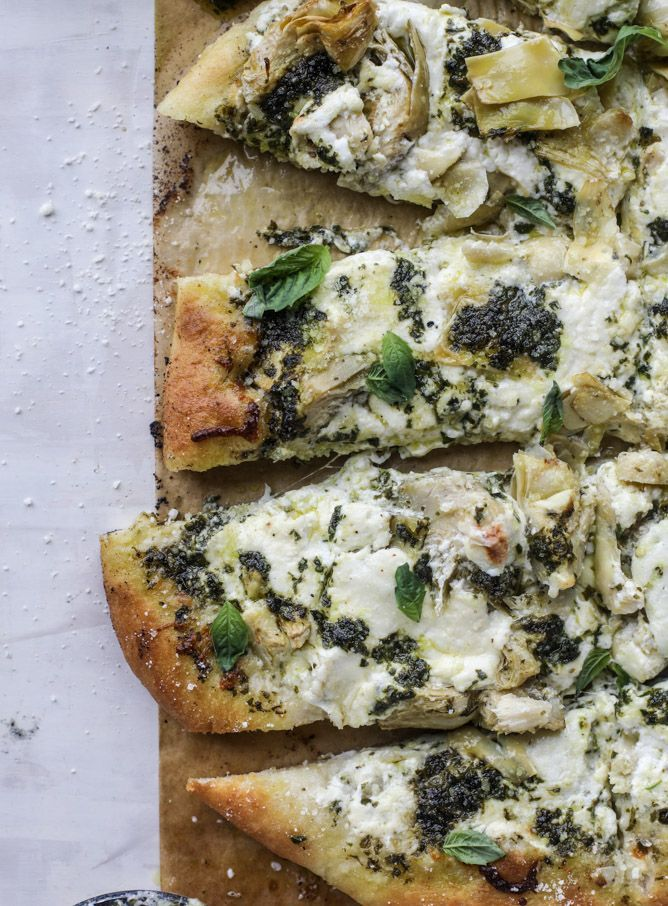 artichoke burrata pizza with lemon basil pesto I howsweeteats.com