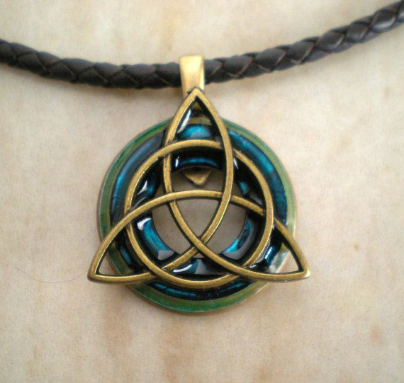 Homemade Celtic Gifts: Blue Triquetra Necklace, Mens Jewelry, Celtic Jewelry