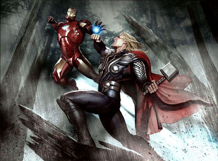 Iron Man vs. Thor Avengers Art by Adi Granov | Pintura ...