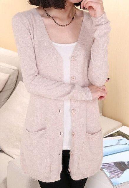 Addonee 2017 Spring Cashmere Cardigan Female Medium-Long Wool Sweater Loose Long-sleeve Plus Size sweater