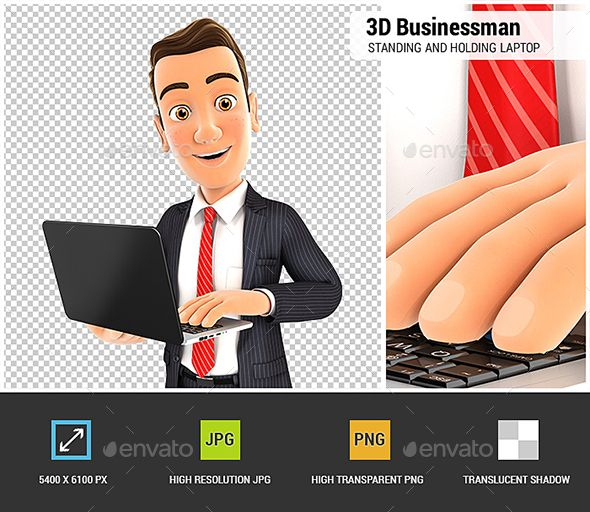 3d Businessman Standing And Holding Laptop Business Man Graphic